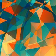 Orange blue poly background. Flat image design. Odd unique arts. Modern back. - stock illustration