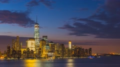 USA, New York, Manhattan, Hudson River, Freedom Tower TIMELAPSE Night to Day - stock footage
