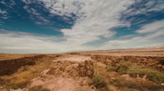 Time lapse clouds travel over the San Andreas Fault, Carrizo Plain, California. Stock Footage