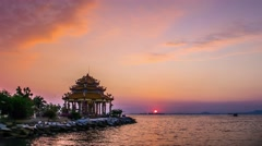 4K Time lapse of Chinese temple (Guanyin) with twilight sky Stock Footage