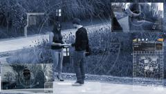 Surveillance monitor of Agent and Suspect. Handover of documents Stock Footage