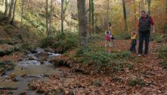Father with children walking by the river, vacation in nature, natural beauty. - stock footage