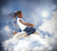 Airplane of Little girl Stock Photos