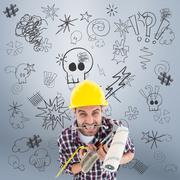 Composite image of frustrated handyman holding various tools Stock Photos