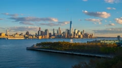 USA, New York, Manhattan, Hudson River, Freedom Tower TIMELAPSE Day to Night - stock footage