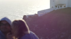 Couple taking selfie at Cape Saint Vincent Stock Footage