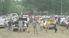 Classic Cars in Park At Car Show Stock Footage