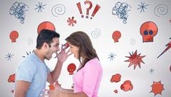 Stock Photo of Composite image of angry couple shouting during argument