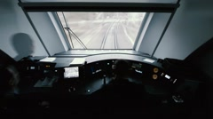 Speed train. View from the driver's cab - stock footage
