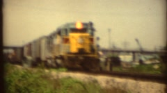 Vintage 8mm Diesel Railroad trains Stock Footage