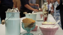 Ice Cream Sundaes Being Made Stock Footage