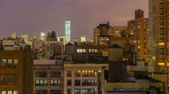 USA, New York, Manhattan, Freedom Tower over rooftops and water towers TIMELAPSE - stock footage