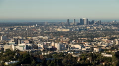 Hollywood, Beverly Hills and Pacific Ocean view from Griffith Observatory Stock Footage