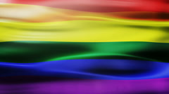 The rainbow flag, pride flag, LGBT pride flag or gay pride flag. Stock Footage