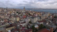 Istanbul Silhouette and Galata Tower Stock Footage