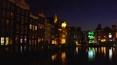 Medieval houses by night in Amsterdam the Netherlands Stock Footage