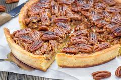 American classic homemade pecan pie - stock photo