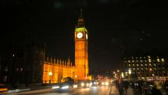 Night time lapse of big ben, london Stock Footage