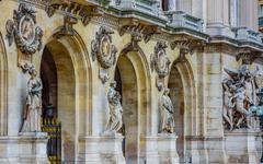 Close up shot of architecture detail, Paris Opera House, France - stock photo