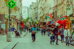 Beautiful sightseeing of Rue Montorgueil street in Paris, France - stock photo