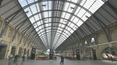 Interior view of kings cross railway station, london Stock Footage