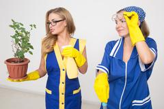 two professional cleaners. sexy busty girl and ugly - stock photo