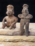 Pre Columbian Woman and Warrior. Stock Photos