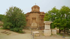 Ancient Byzantine Church of Holy Apostles in Athens, antique religious sanctuary Stock Footage
