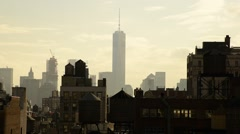 USA, New York, Manhattan, Freedom Tower over rooftops and water towers - stock footage