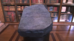 Replica of the rosetta stone in the british museum Stock Footage