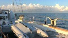 Catamaran and Caribbean Sea - stock footage