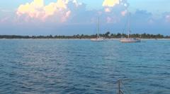 Catamaran and Caribbean Sea Stock Footage