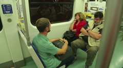 Tired passengers returning home after work, urban public transportation service - stock footage