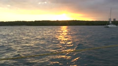 View of Cienfuegos City from Boat before Sunset Stock Footage