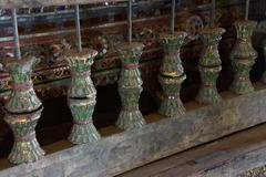 Enameled prayer wheels - stock photo