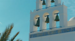 Bell Tower Detail of a Traditional Cycladic Mediterranean Church Stock Footage