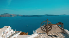 Establishing Vacation Shot Showing a Wooden Winch in a Mediterranean Island - stock footage