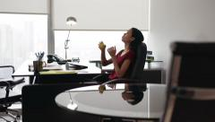 7 Secretary With Tablet PC Thinking And Playing Anti Stress Ball - stock footage