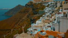 Traditional Cycladic Village and the Aegean Mediterranean Sea Stock Footage