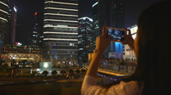 Woman takes picture of Shanghai Stock Footage