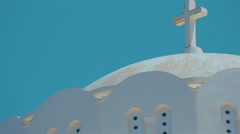 Close-up Shot of a Traditional White Dome Cycladic Mediterranean Church Stock Footage