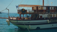Close-up Shot of a Greek Boat Moored in the Aegean Sea Stock Footage