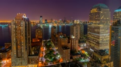 USA, New York, Manhattan, Manhattan, New Jersey and Jersey City across Hudson - stock footage
