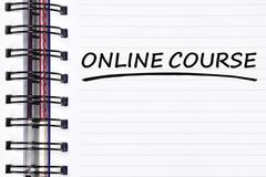 online course words on spring note book - stock photo