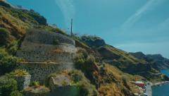 Aerial View of a Mediterranean Cycladic Village, Sea and Sky Stock Footage