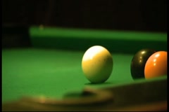 Isolated Shot of Pool Cue Hitting Cue Ball Stock Footage