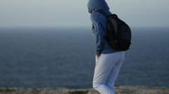 Windy weather by the ocean in Portugal - stock footage