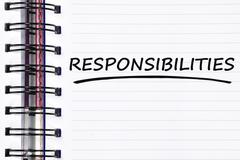 responsibilities words on spring note book - stock photo