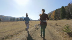 Two friends girls walking their racing very active dogs of all four runs to the Stock Footage