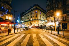 Rue Jean du Bellay at night, in Paris, France. - stock photo